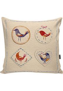 Capa De Almofada Birds- Bege & Vermelha- 42X42Cmstm Home