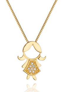 Pingente Menina Vestido Longo Ouro Amarelo E Diamantes 15 Mm