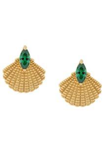 V Jewellery Par De Brincos 'Pamela' De Prata Banhada A Ouro 18Kt - Estampado