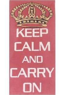Quadro Keep Calm And Carry On Tecido 50X30 Cm