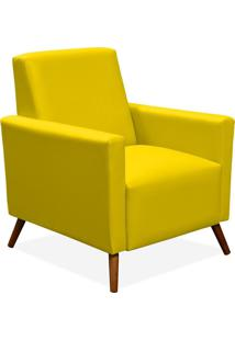 Poltrona Decorativa Para Sala De Estar Pés Palito Liz Corino Amarelo - Lyam Decor