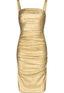 Dolce & Gabbana Vestido De Seda Com Efeito Metalizado - Dourado