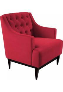 Poltrona Decorativa Clássica Capitonê Suede Vermelho - Ds Móveis