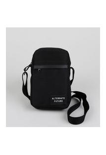 Bolsa Shoulder Bag Unissex Transversal Pequena Com Bolso Preta