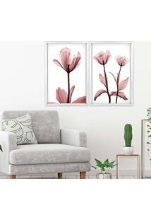 Quadro Com Moldura Chanfrada Flores Rose Branco - Médio