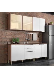 Cozinha Compacta Donna 7 Pt 3 Gv Branca E Nogal