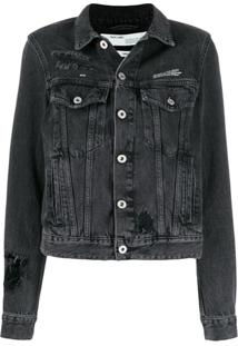 Off-White Loose Thread Denim Jacket - Cinza