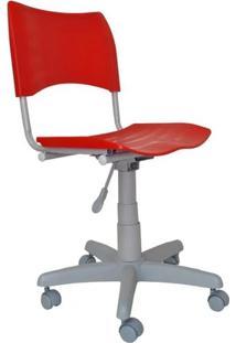 Cadeira Giratória Iso Plástica Base Cinza - Vermelho