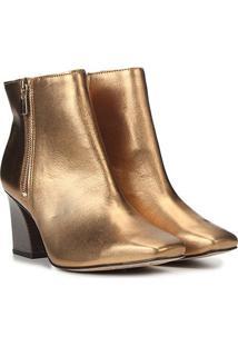 Bota Couro Tanara Metalizada Bico Quadrado Feminina - Feminino-Dourado