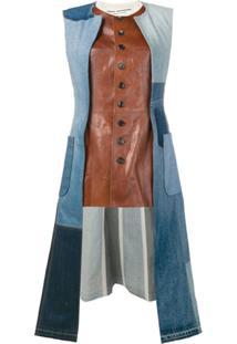 Junya Watanabe Jaqueta Jeans Com Recorte De Couro - Marrom
