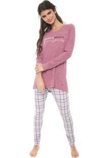 Pijama Cor Com Amor Estampado Roxo/Cinza