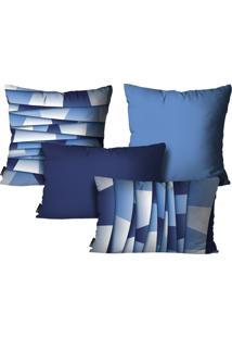Kit Mdecore Com 4 Capas Para Almofadas Abstrato Azul