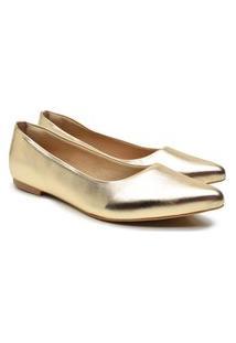 Sapatilha Feminina Metalizada Bico Fino Lisa Conforto Macia Dourado 34 Dourado