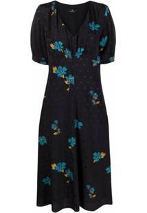 Ps Paul Smith Floral-Print V-Neck Dress - Preto