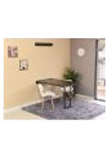Conjunto De Mesa Dobrável Retrátil 120 X 75 Preta + 2 Cadeiras Slim - Branca
