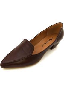 Sapato Couro Amora Calçados Veneza Marrom