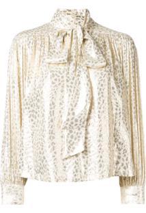 Masscob Blusa Metálica Estampada - Dourado