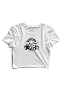 Blusa Blusinha Cropped Tshirt Camiseta Feminina Caveiras Arco Íris Branco