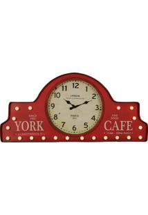 Relógio De Parede Vintage Decorativo York De Metal Com Luzes