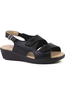 Sandália Couro Doctor Shoes 7999 Feminina - Feminino-Preto