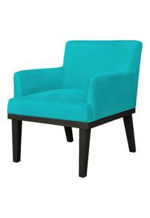 Poltrona Decorativa Para Sala De Estar E Recepçáo Beatriz Suede Azul Claro - Lyam Decor