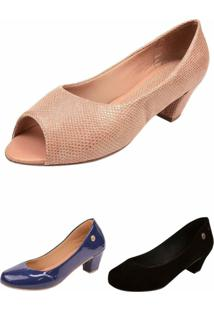 Kit 03 Pares Sapatos Donna Santa Bico Redondo Modelos - Kanui