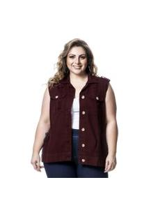 Colete Jeans Plus Size Vinho Lavanda E Alecrim