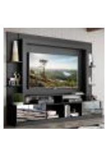 "Rack C/ Painel E Suporte Tv 65"" Portas C/ Espelho Oslo Multimóveis Preto/Branco"