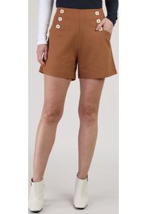 Short Feminino Cintura Alta Com Bolsos E Botões Marrom