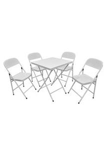 Conjunto Açomix Mesa C/4 Cadeiras Branco Açomix