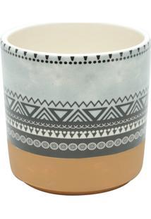 Vaso De Cerâmica Branco E Laranja Aztec Tri Urban
