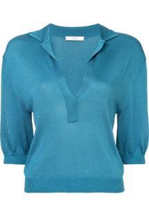 4bb4cad1fb85a Camisa Pólo Aberta Azul feminina