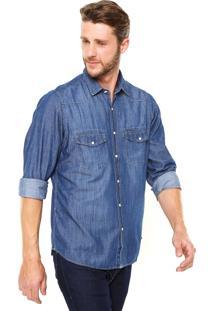 Camisa Aleatory Bolsos Azul