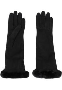 Gala Gloves Par De Luvas Com Acabamento De Pelos - Preto