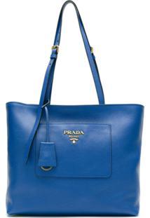 Prada Bolsa Shopping Daino De Couro - Azul