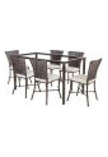 Jogo De Jantar 6 Cadeiras Turquia Pedra Ferro A34 E 1 Mesa Retangular Sem Tampo Ideal Para Área Externa Coberta