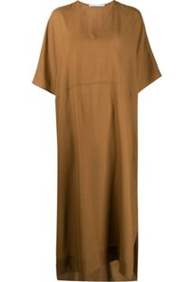 Agnona Short Sleeve Long Dress - Marrom