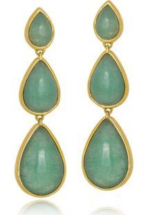 Brinco Le Diamond Pedra Natural Jade Verde