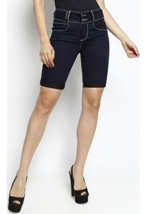 Bermuda Jeans Low Com Bolsos- Azul Marinho- Lança Pelança Perfume