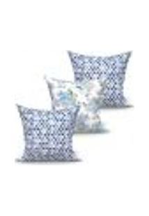 Conjunto De Capas Para Almofada Com 3 Peças Triângulo I Azul E Branco 60X60 Cm