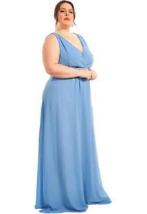 Vestido Plus Size Longo Com Pregas - Feminino-Azul