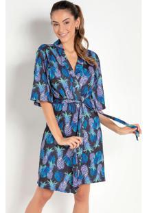 Robe Estampado Abacaxi Azul