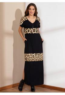 Vestido Onça E Preto Longo Soltinho Com Fenda