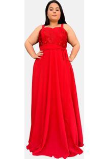Vestido Longo Tnm Collection Madrinha Festa Plus Size Com Renda Vermelho