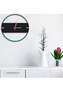 Relógio De Parede Decorativo Premium Slim Ágata Com Detalhe Preto Ônix Em Relevo Médio