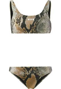 Msgm Snakeskin-Print Bikini - Verde