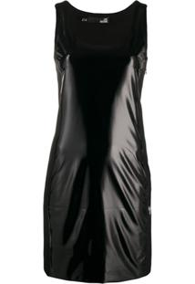 Love Moschino Sleeveless Scoop Neck Patent Dress - Preto