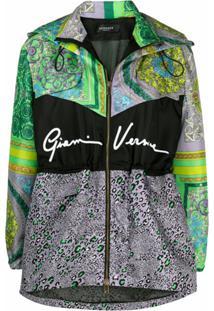 Versace Jaqueta Com Capuz E Mix De Estampas - Roxo