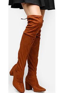 Bota Meia Over The Knee Shoestock Salto Grosso Feminina - Feminino-Caramelo