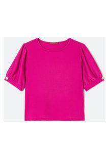 Blusa Malha Crepe Com Mangas Bufantes Curve Plus Size Rosa